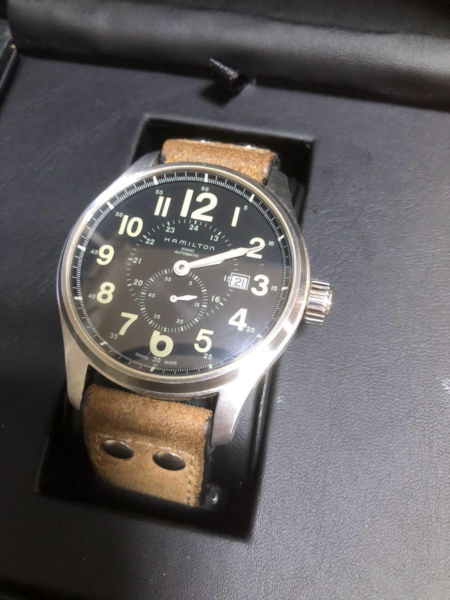 ハミルトン カーキオフィサーオート 44mm ビッグフェイス 自動巻 機械式時計 高級 腕時計 _画像2