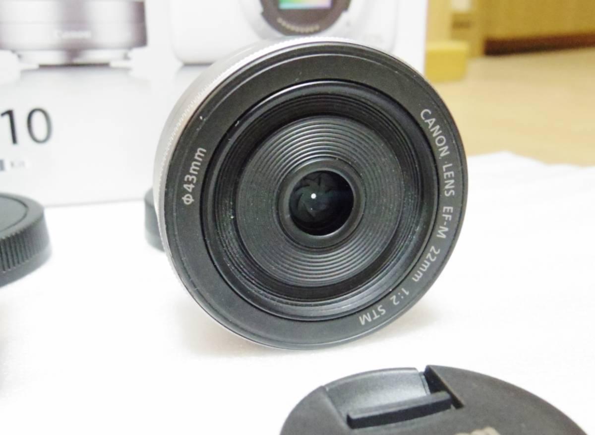 メーカー保証付き 展示商品 CANON EOS M10 ダブルズームキット [ホワイト]EF-M15-45mm F3.5-6.3 IS STM EF-M22mm F2 STM_画像7