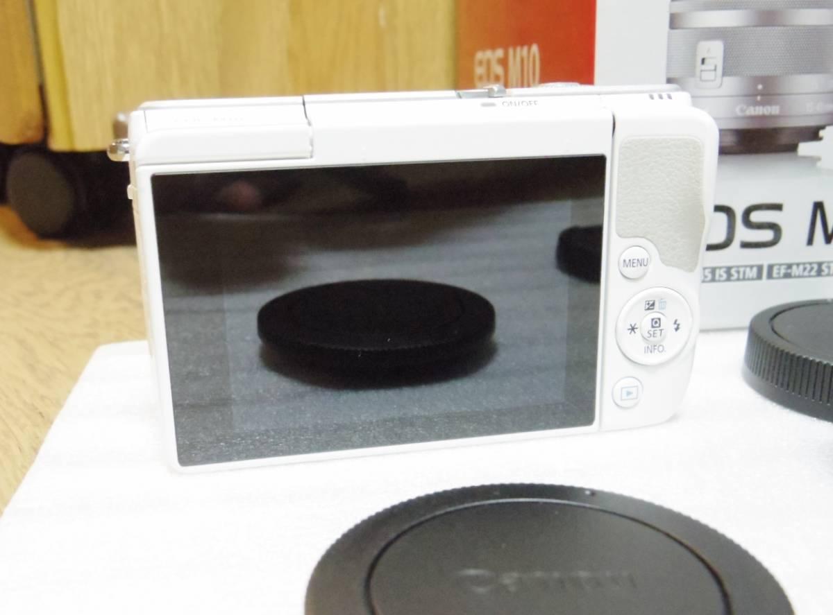メーカー保証付き 展示商品 CANON EOS M10 ダブルズームキット [ホワイト]EF-M15-45mm F3.5-6.3 IS STM EF-M22mm F2 STM_画像4