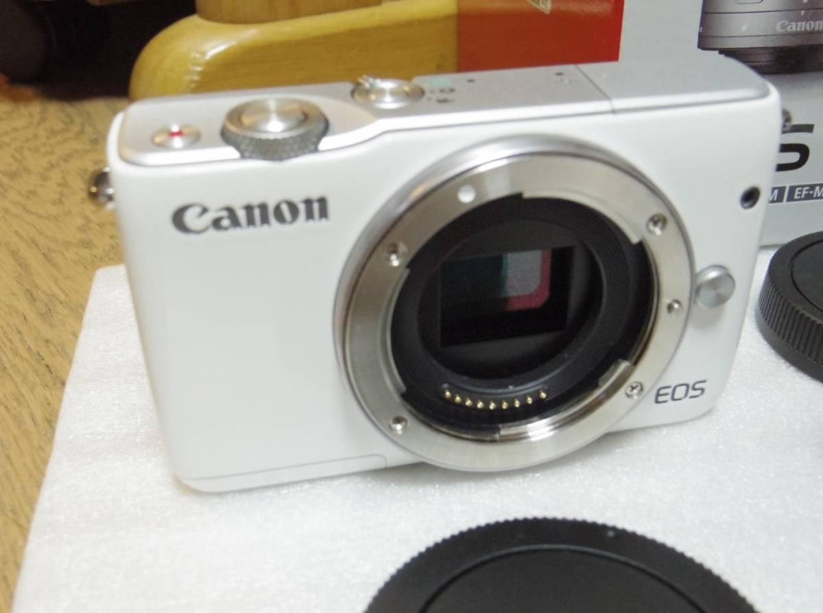 メーカー保証付き 展示商品 CANON EOS M10 ダブルズームキット [ホワイト]EF-M15-45mm F3.5-6.3 IS STM EF-M22mm F2 STM_画像3