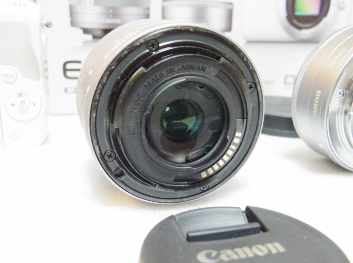 メーカー保証付き 展示商品 CANON EOS M10 ダブルズームキット [ホワイト]EF-M15-45mm F3.5-6.3 IS STM EF-M22mm F2 STM_画像6