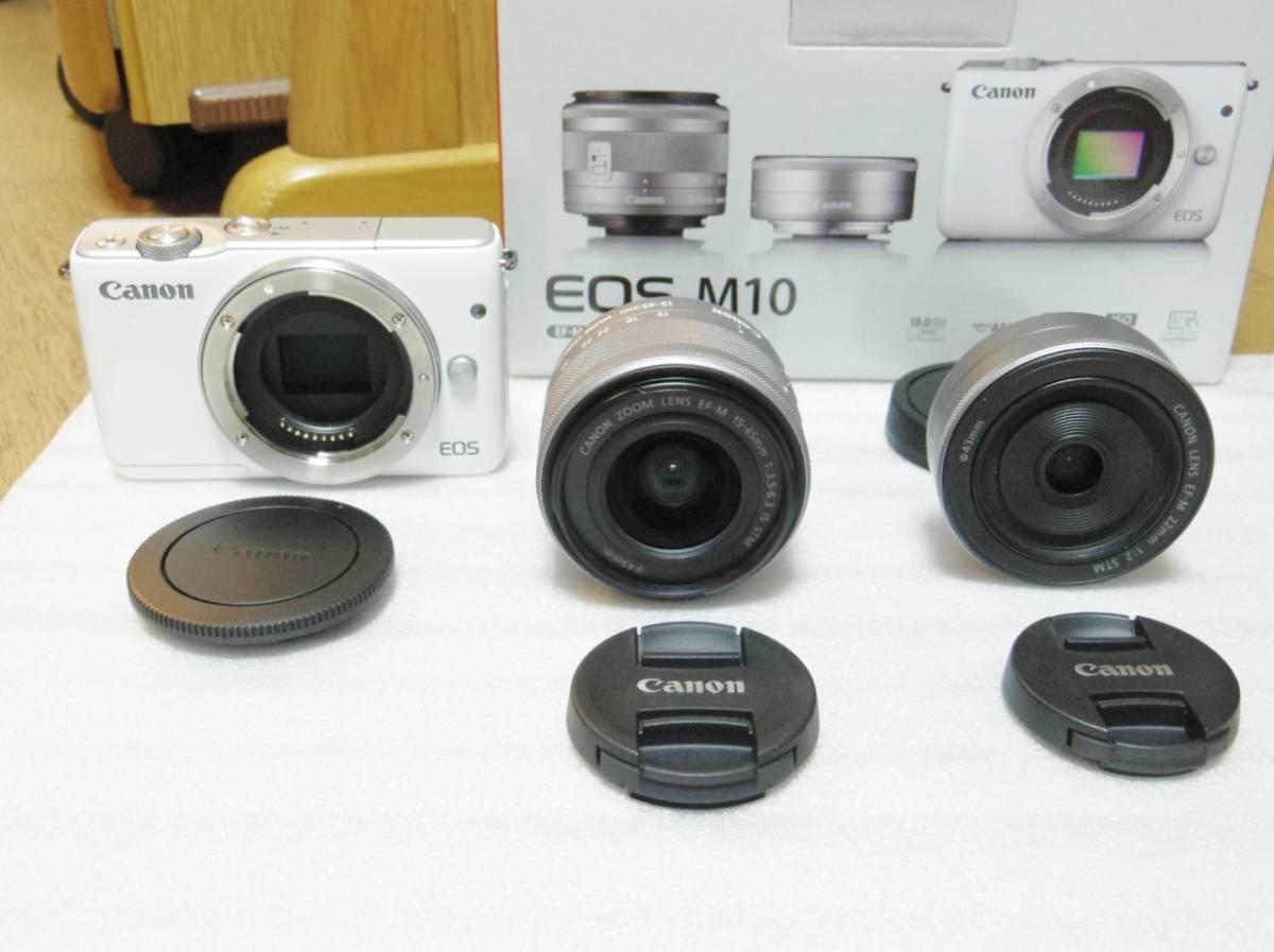 メーカー保証付き 展示商品 CANON EOS M10 ダブルズームキット [ホワイト]EF-M15-45mm F3.5-6.3 IS STM EF-M22mm F2 STM_画像2