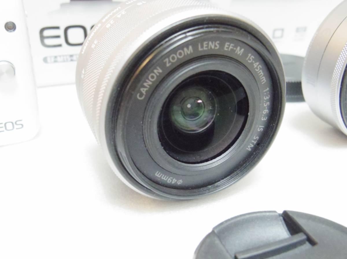 メーカー保証付き 展示商品 CANON EOS M10 ダブルズームキット [ホワイト]EF-M15-45mm F3.5-6.3 IS STM EF-M22mm F2 STM_画像5