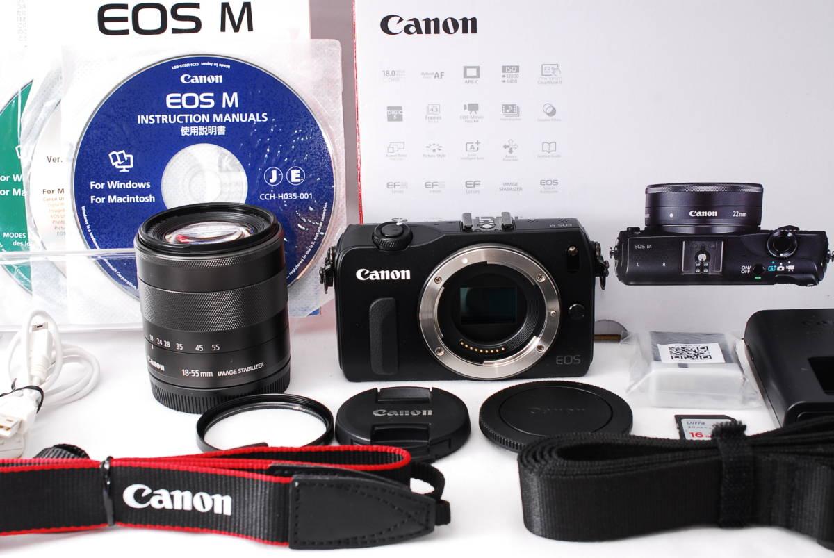 ★新品級★Canon キヤノン EOS M EF-S 18-55mm STM レンズセット!! 16G SDカードつき 届いたその日から撮影可能です!!