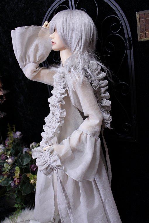 ◆月の宵宮◆SD17B◆ロングカシュクールドレス◆グレイッシュアイボリー◆_画像4