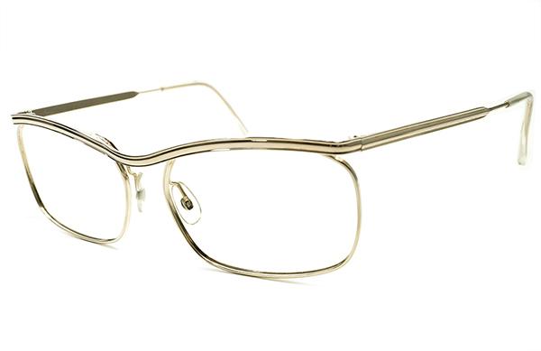 圧倒的優美デッドストック1950-60sフランス製ミニマルルックAMOR STYLEアモールALL GOLDメタル眼鏡 実寸54/18超GOOD SIZEヴィンテージA5261_画像1