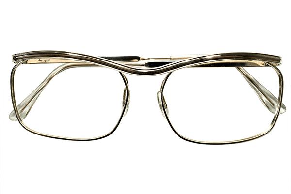 圧倒的優美デッドストック1950-60sフランス製ミニマルルックAMOR STYLEアモールALL GOLDメタル眼鏡 実寸54/18超GOOD SIZEヴィンテージA5261_画像2