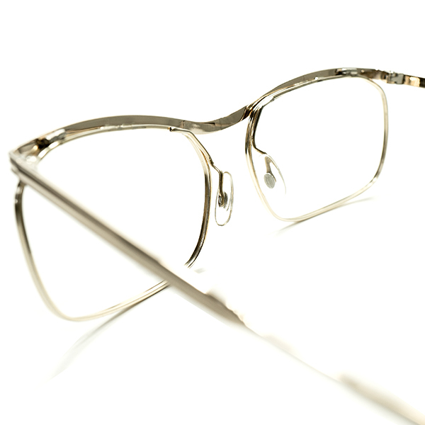 圧倒的優美デッドストック1950-60sフランス製ミニマルルックAMOR STYLEアモールALL GOLDメタル眼鏡 実寸54/18超GOOD SIZEヴィンテージA5261_画像4