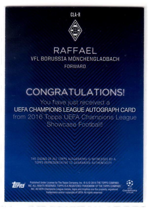 Raffael (ラファエウ) 2016 Topps UEFA Champions League Showcase Base Autograph 直筆サインカード ボルシア・メンヒェングラートバッハ_画像2