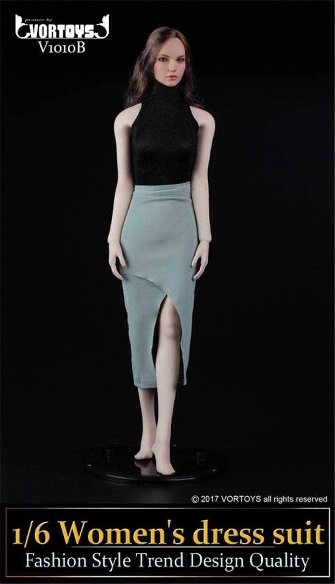 1/6 VORTOYS V1010-B レオタード ドレススーツ/スカート 2点セット ブラック ファイセン素体対応_画像2
