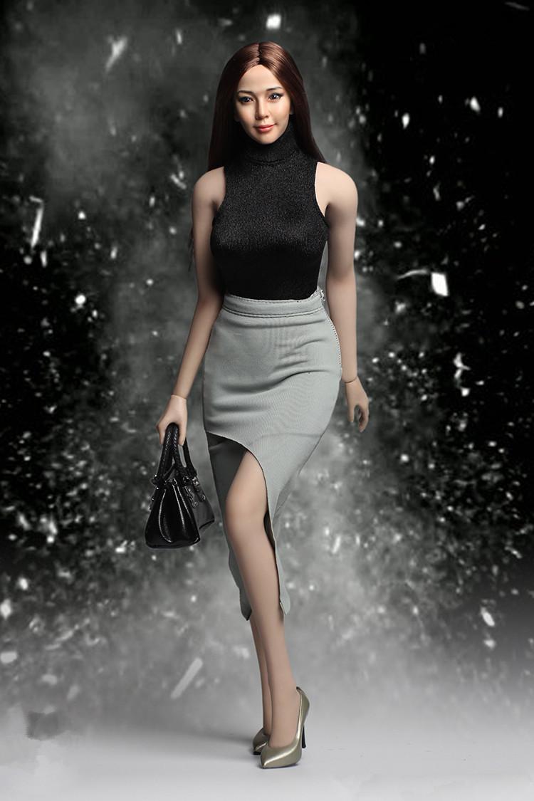 1/6 VORTOYS V1010-B レオタード ドレススーツ/スカート 2点セット ブラック ファイセン素体対応
