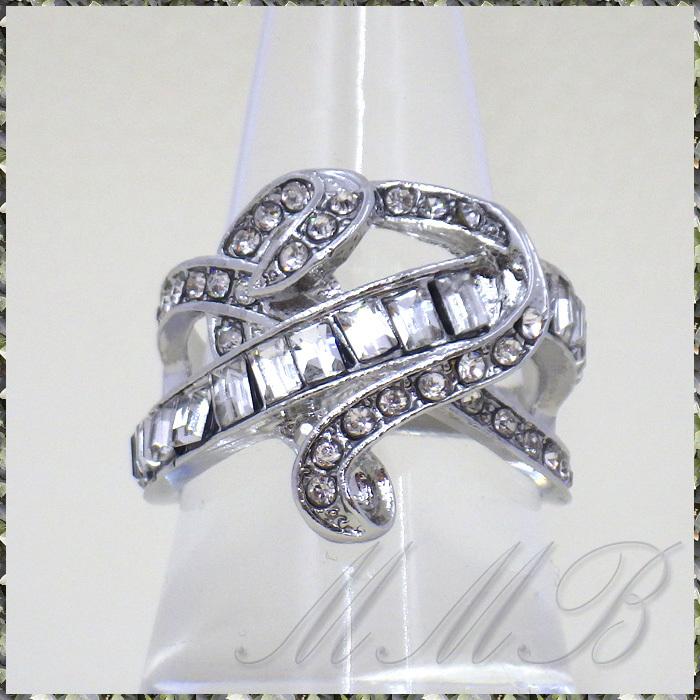 [RING] Silver Infinity Cross Crystal Heart シルバー インフィニティー クロス クリスタルCZ ハート デザイン リング 16号_画像1