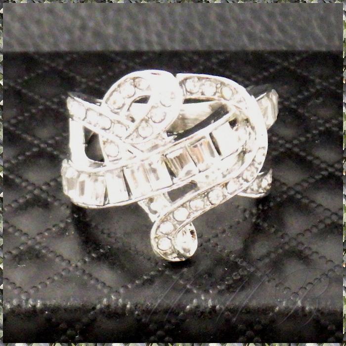 [RING] Silver Infinity Cross Crystal Heart シルバー インフィニティー クロス クリスタルCZ ハート デザイン リング 16号_画像3