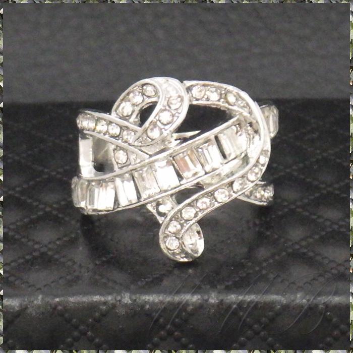 [RING] Silver Infinity Cross Crystal Heart シルバー インフィニティー クロス クリスタルCZ ハート デザイン リング 16号_画像2