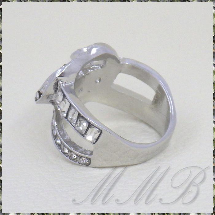 [RING] Silver Infinity Cross Crystal Heart シルバー インフィニティー クロス クリスタルCZ ハート デザイン リング 17号_画像6