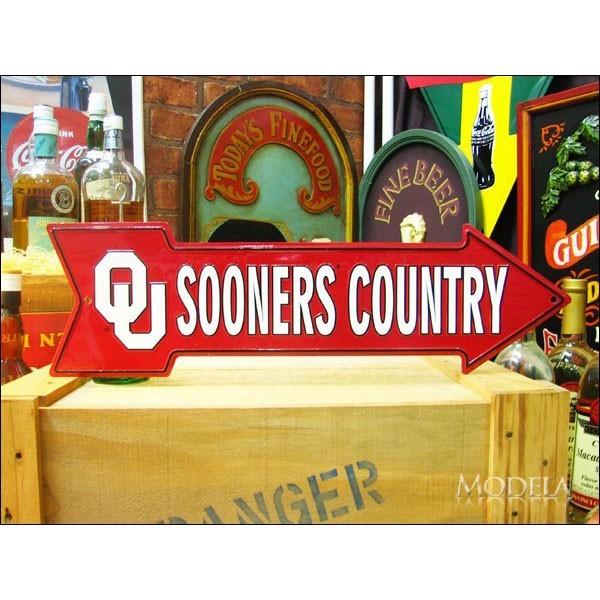 アメリカンブリキ看板 Oklahoma Sooners 道標【A-017】sign_sports_サイズ:長辺50cm×短辺15cm(約)