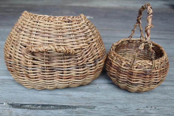 【山蔓 花籠 2個】編み 花器 花入 古民具 古道具_画像2