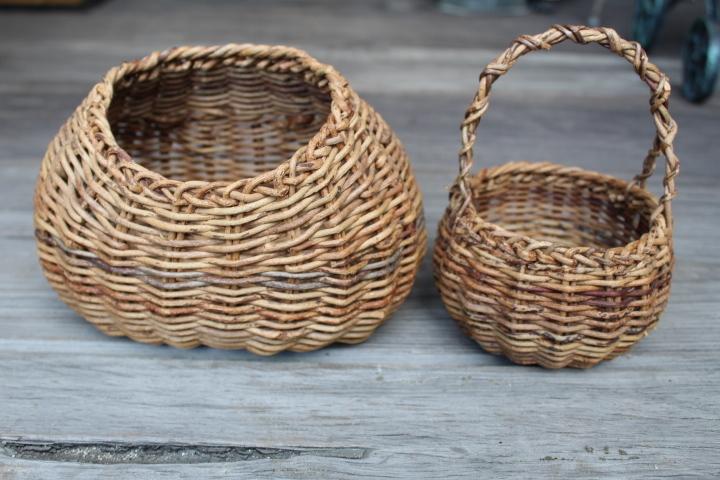 【山蔓 花籠 2個】編み 花器 花入 古民具 古道具_画像1