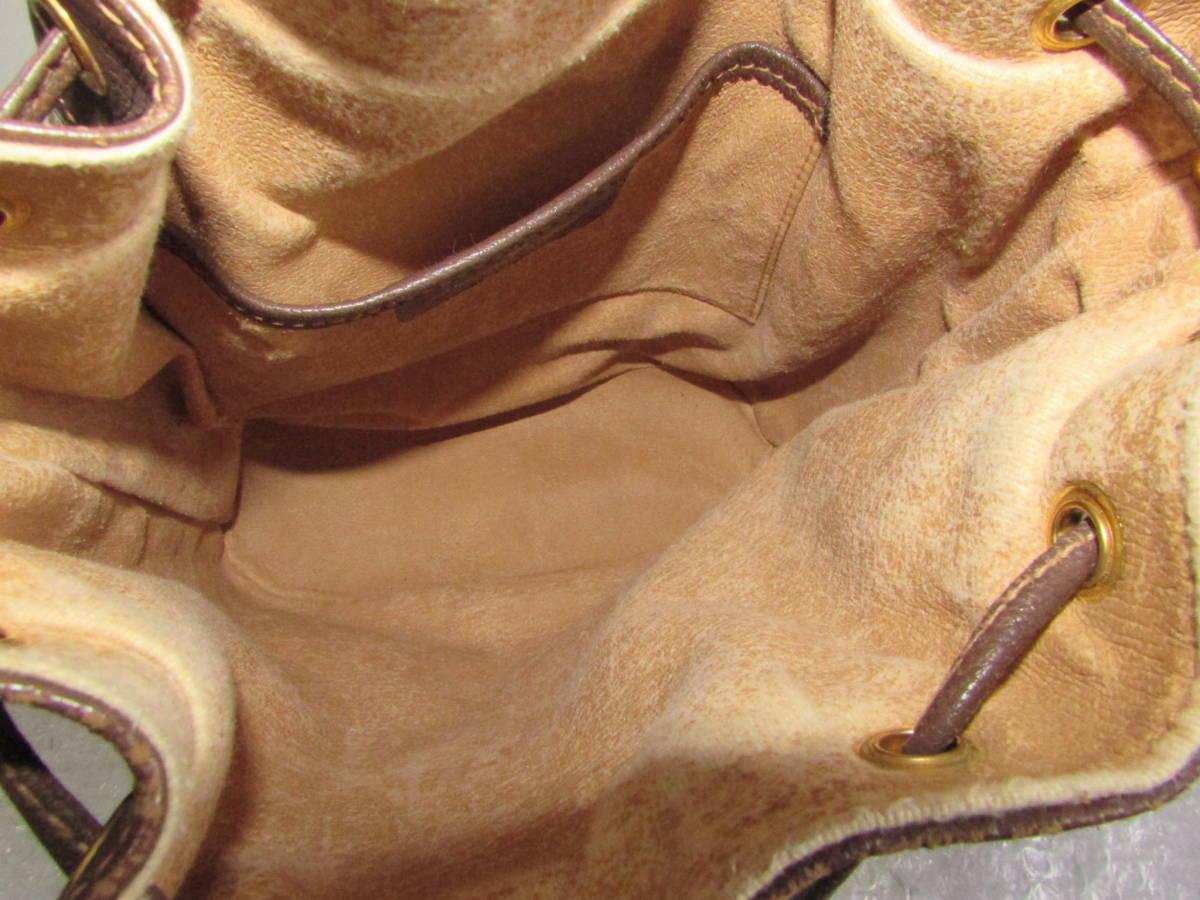 オールドグッチ 巾着タイプ ショルダーバッグ GG柄 レザーxPVCxライン_画像10