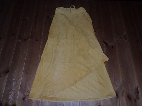 本革★RIFFO スウェード巻きスカート 黄色 ★