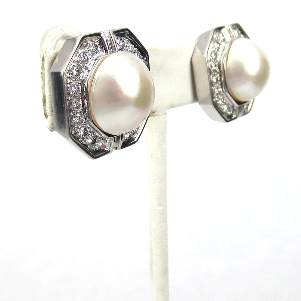 美品《3.5ctダイヤモンド&半球パール》K18八角形クリップ・イヤリング_画像6