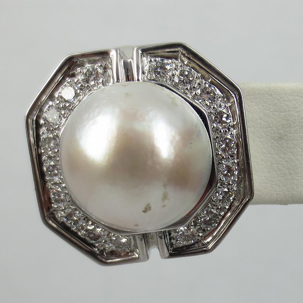 美品《3.5ctダイヤモンド&半球パール》K18八角形クリップ・イヤリング_画像5