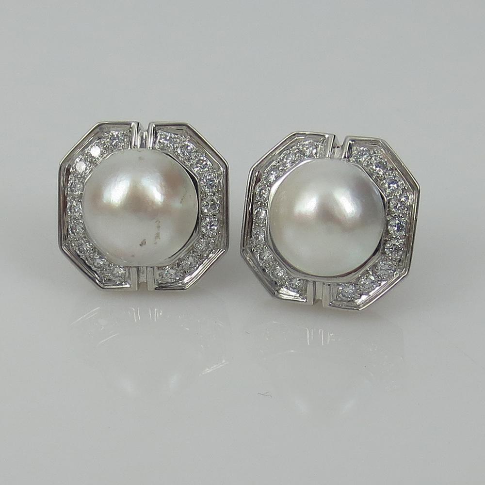 美品《3.5ctダイヤモンド&半球パール》K18八角形クリップ・イヤリング_画像9