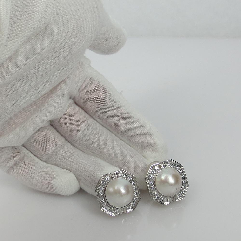 美品《3.5ctダイヤモンド&半球パール》K18八角形クリップ・イヤリング_画像8