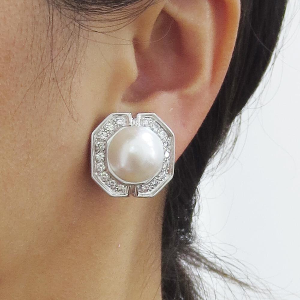美品《3.5ctダイヤモンド&半球パール》K18八角形クリップ・イヤリング_画像10