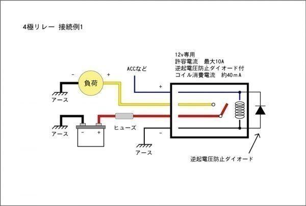■汎用 コンパクト4極リレー DC12v / 10A MAX120W 【逆起電圧保護付き】L4P-relay 電装品の切り替えに!10_画像2