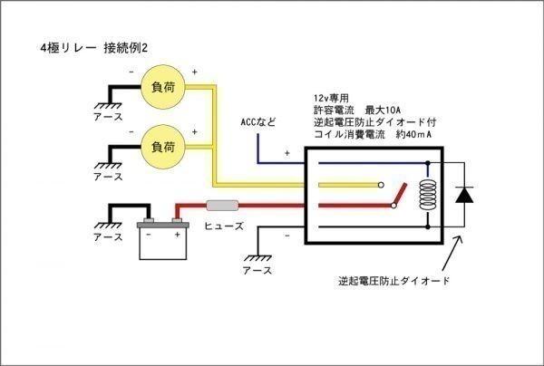 ■汎用 コンパクト4極リレー DC12v / 10A MAX120W 【逆起電圧保護付き】L4P-relay 電装品の切り替えに!5_画像3
