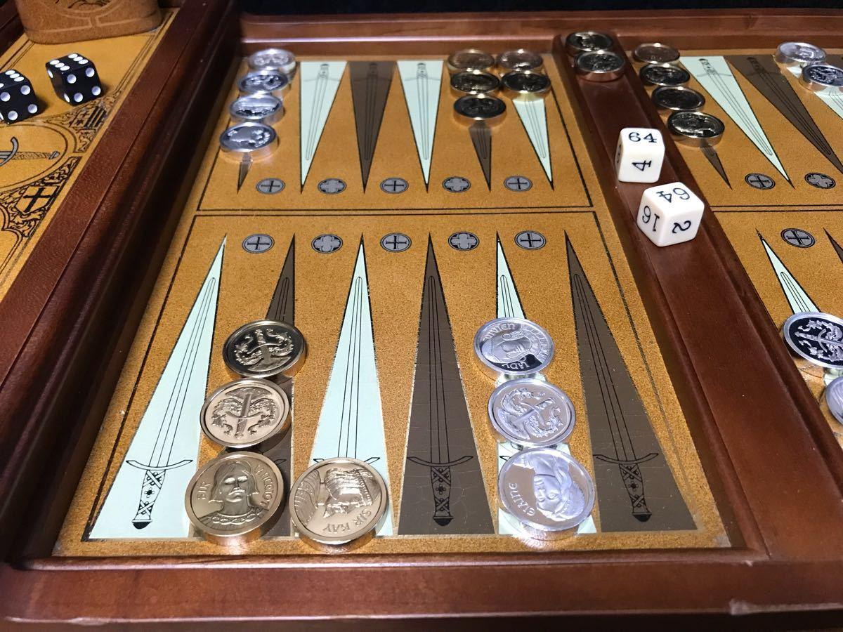 希少!フランクリン・ミント 「エクスキャリバーのバックギャモンセット」中古品 世界最古のボードゲーム_画像3