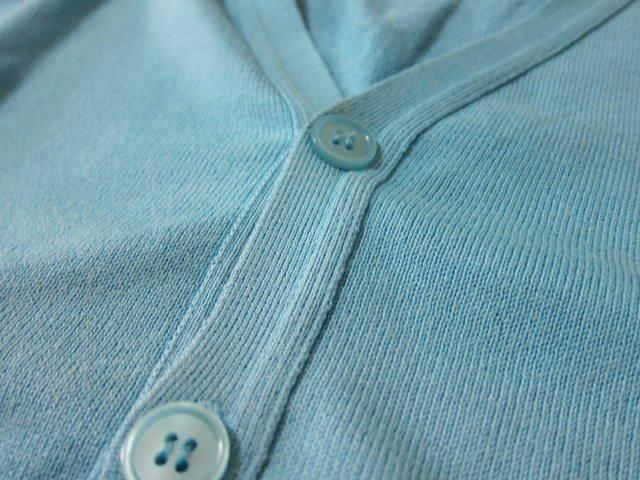 ★リーミルズ LEA MILLS セーター ニット M メンズ カーディガン 水色 サックスブルー イギリス製 made in england 男性 _画像3
