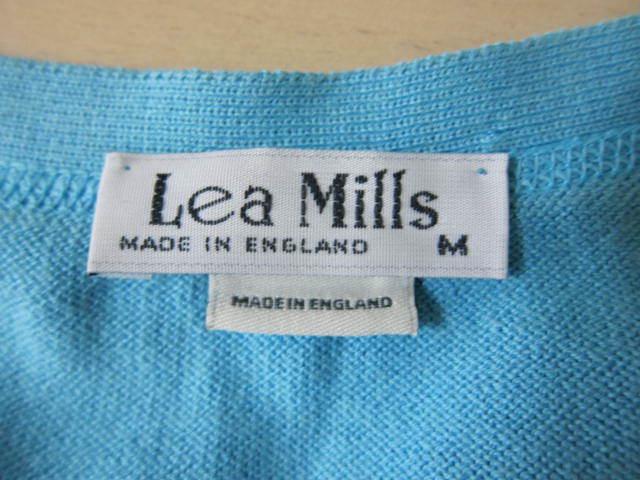 ★リーミルズ LEA MILLS セーター ニット M メンズ カーディガン 水色 サックスブルー イギリス製 made in england 男性 _画像2