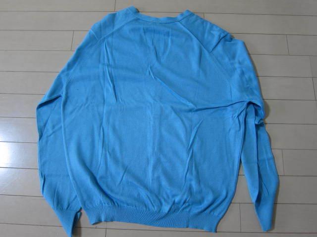 ★リーミルズ LEA MILLS セーター ニット M メンズ カーディガン 水色 サックスブルー イギリス製 made in england 男性 _画像4