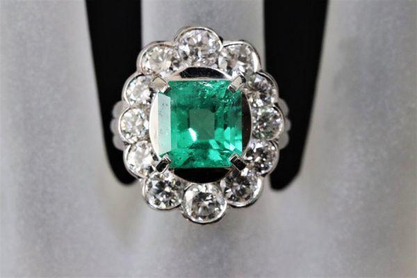 超豪華★鮮やかな 大粒 エメラルド 3.03ct 綺麗な天然ダイヤモンド 2.48ct Pt900 プラチナ リング サイズ13号★指輪 白金_画像6