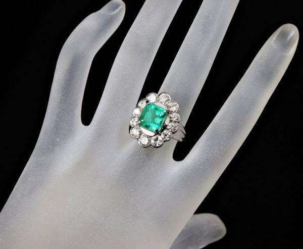 超豪華★鮮やかな 大粒 エメラルド 3.03ct 綺麗な天然ダイヤモンド 2.48ct Pt900 プラチナ リング サイズ13号★指輪 白金_画像8