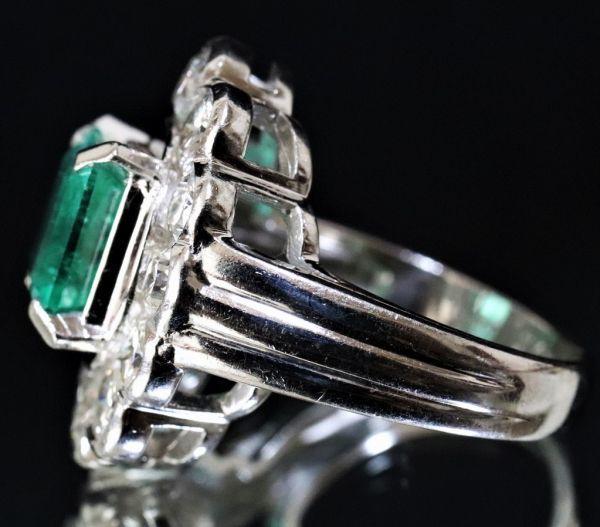 超豪華★鮮やかな 大粒 エメラルド 3.03ct 綺麗な天然ダイヤモンド 2.48ct Pt900 プラチナ リング サイズ13号★指輪 白金_画像5