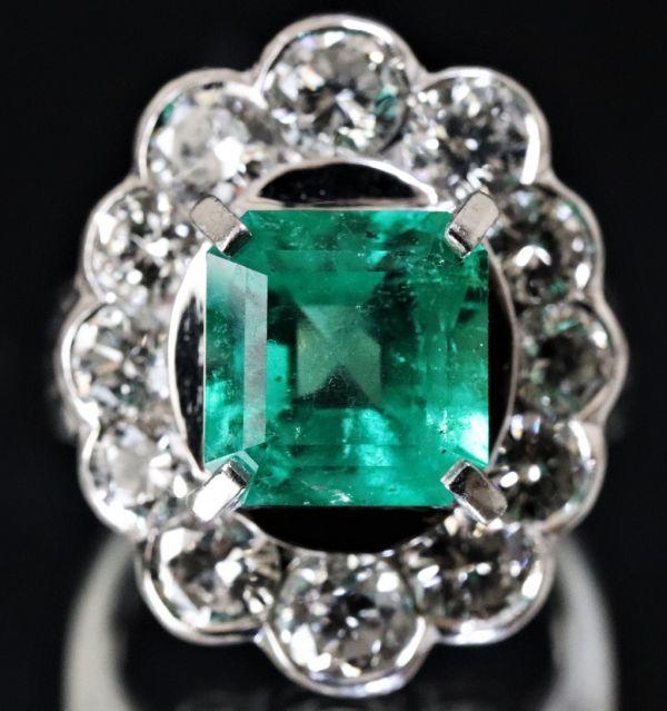 超豪華★鮮やかな 大粒 エメラルド 3.03ct 綺麗な天然ダイヤモンド 2.48ct Pt900 プラチナ リング サイズ13号★指輪 白金