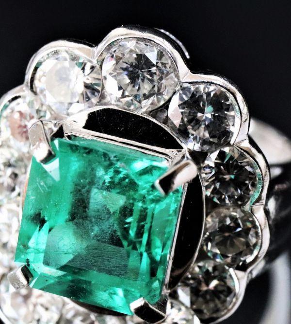 超豪華★鮮やかな 大粒 エメラルド 3.03ct 綺麗な天然ダイヤモンド 2.48ct Pt900 プラチナ リング サイズ13号★指輪 白金_画像4
