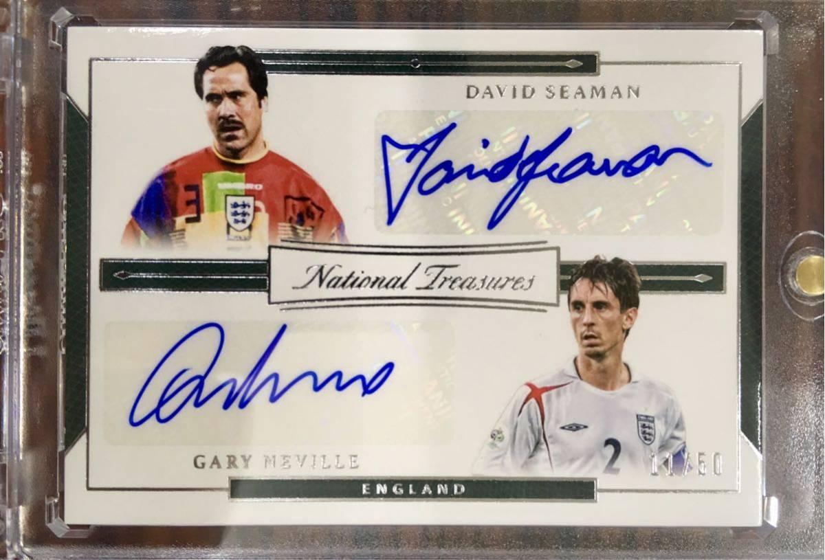 2018 National treasures Gary Neville / David Seaman Dual auto /50 England