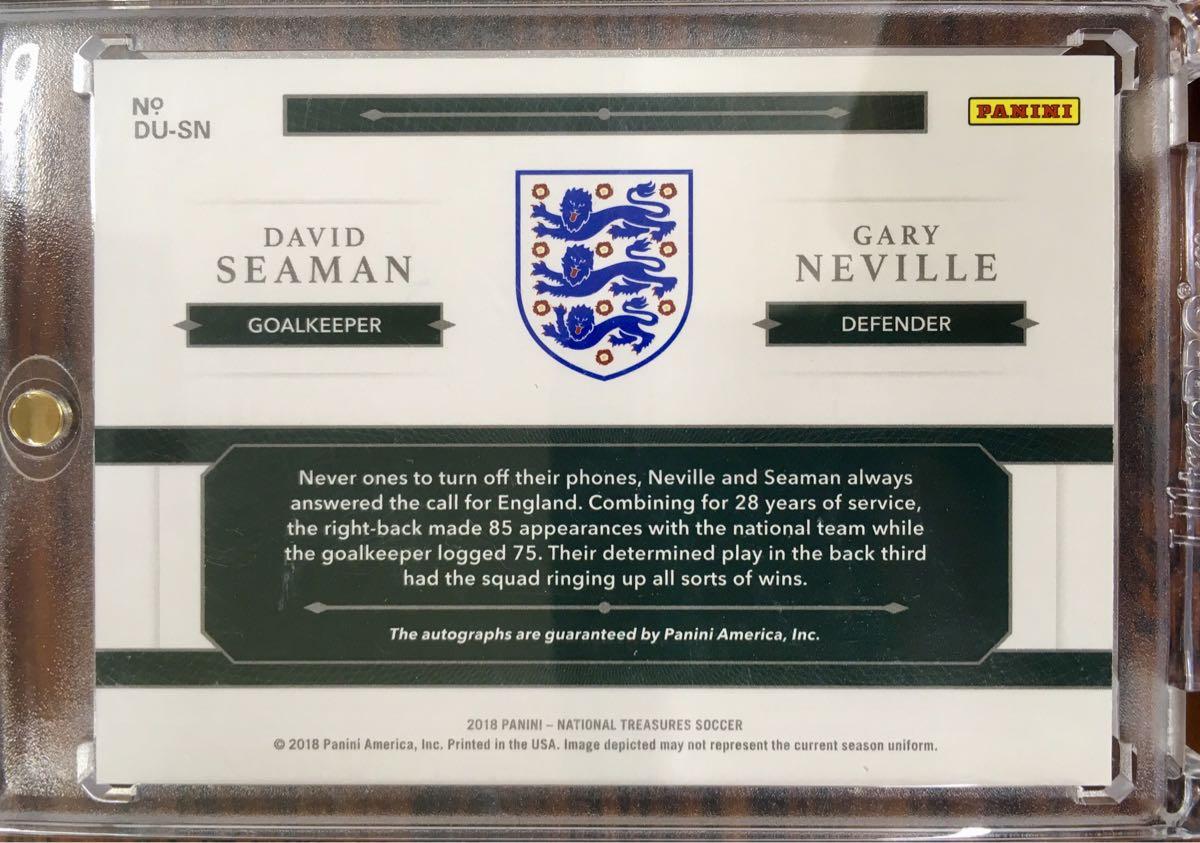 2018 National treasures Gary Neville / David Seaman Dual auto /50 England_画像2