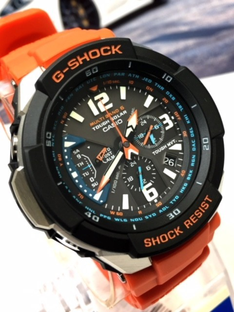 新品 CASIO カシオ Gショック G-SHOCK 正規品 電波ソーラー 腕時計 スカイコックピット SKY COCKPIT アナログ 電波 時計 オレンジ_画像4