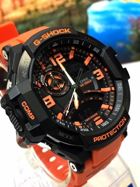 新品 CASIO カシオ G-SHOCK Gショック 正規品 腕時計 SKY COCKPIT スカイコックピット 多機能 アナデジ 時計 ブラック文字盤 オレンジ_画像5