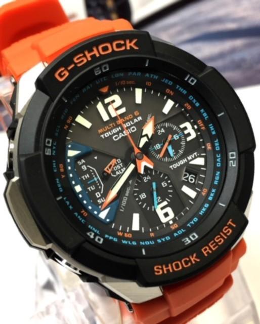 新品 CASIO カシオ Gショック G-SHOCK 正規品 電波ソーラー 腕時計 スカイコックピット SKY COCKPIT アナログ 電波 時計 オレンジ_画像3