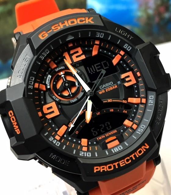 新品 CASIO カシオ G-SHOCK Gショック 正規品 腕時計 SKY COCKPIT スカイコックピット 多機能 アナデジ 時計 ブラック文字盤 オレンジ