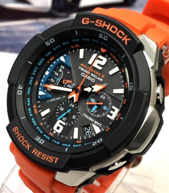 新品 CASIO カシオ Gショック G-SHOCK 正規品 電波ソーラー 腕時計 スカイコックピット SKY COCKPIT アナログ 電波 時計 オレンジ