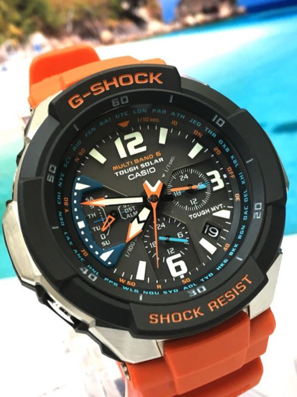 新品! CASIO カシオ G-SHOCK G-ショック 正規品 SKY COCKPIT 電波ソーラー 腕時計 マルチバンド 6 ブラック × オレンジ