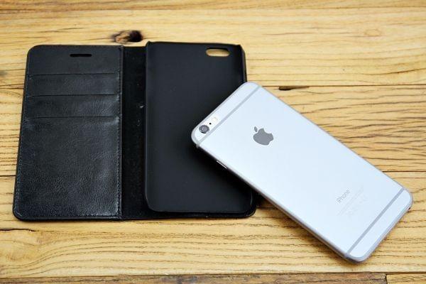 Q003 ★1円~ 超美品 使用少 ソフトバンク iPhone 6 Plus 16GB A1524 スペースグレイ レザーケース付き softbank ◎907_画像8