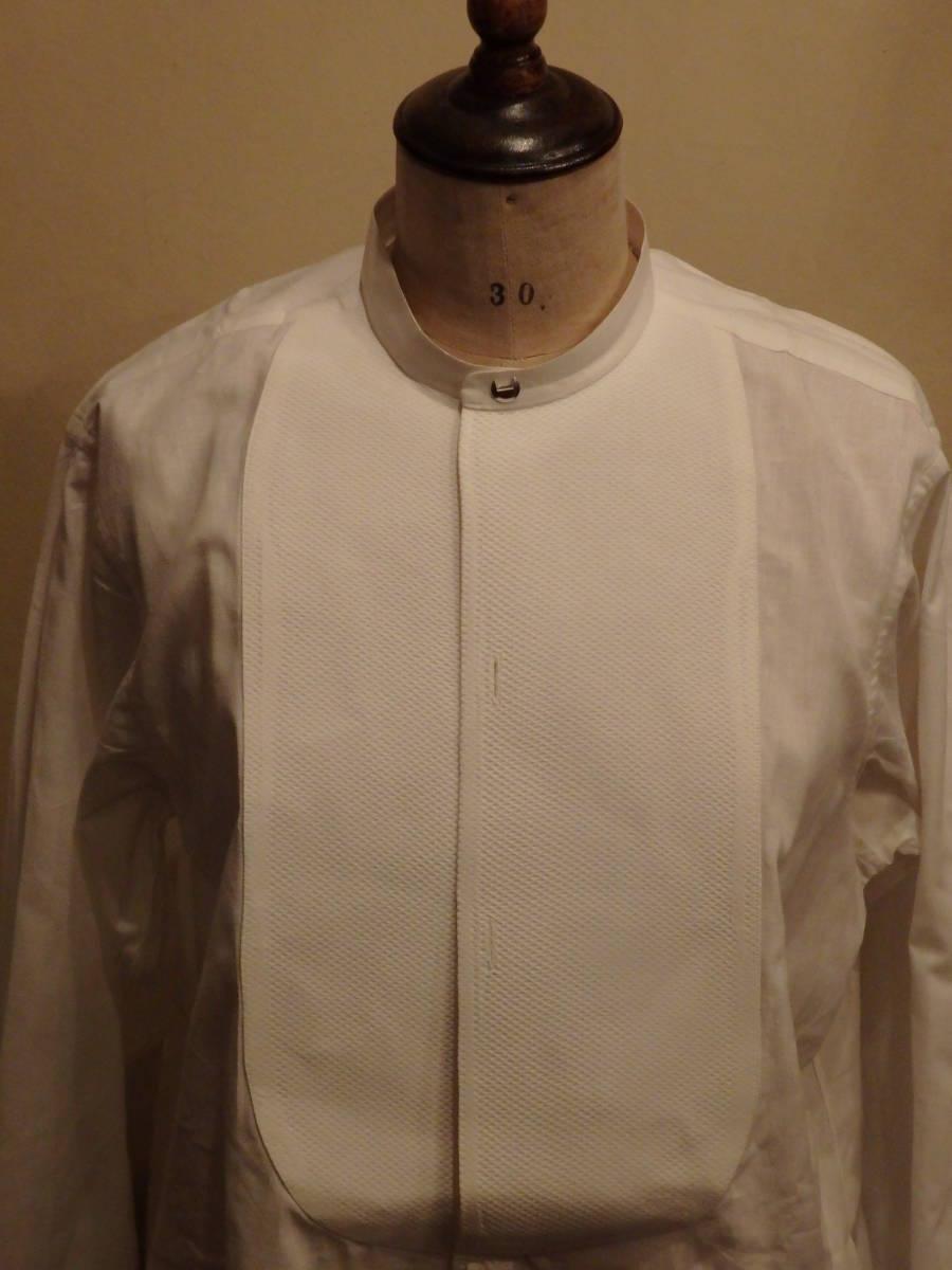 フランスアンティーク10's烏賊胸ドレスシャツ/20's30'sヴィンテージフォーマル燕尾服20世紀初頭1900'sΓMT_画像1